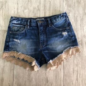 Free People Distressed and Lace Denim Shorts